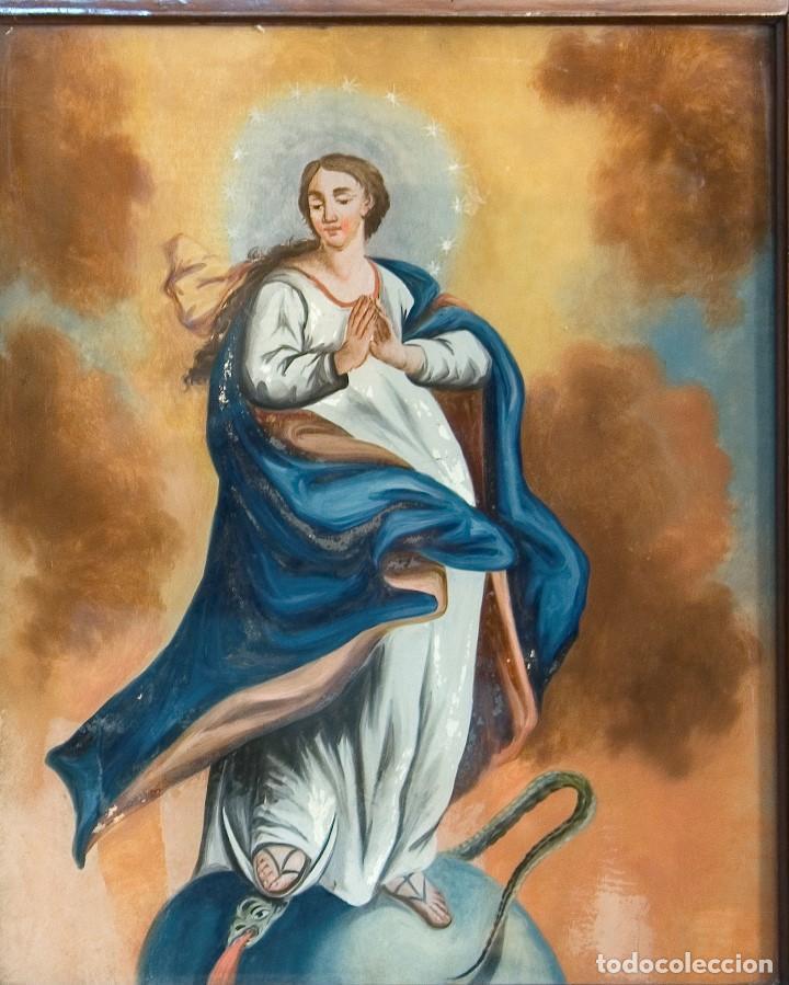 Arte: Inmaculada. Óleo bajo vidrio. Siglo XIX. - Foto 2 - 165187826