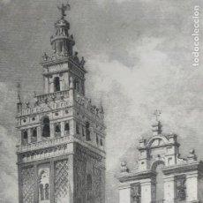 Arte: PRECIOSO Y ANTIGUO GRABADO CON VISTA A LA PUERTA DEL PERDÓN DE LA CATEDRAL DE SEVILLA Y LA GIRALDA.. Lote 165472822