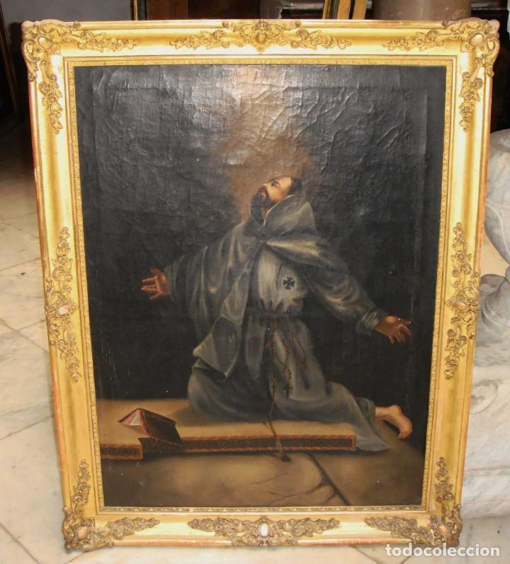 ÓLEO SOBRE LIENZO. PINTURA RELIGIOSA. S.XIX. MARCO DE MADERA, ESTUCO Y PAN DE ORO. (Arte - Arte Religioso - Pintura Religiosa - Oleo)