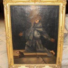 Arte: ÓLEO SOBRE LIENZO. PINTURA RELIGIOSA. S.XIX. MARCO DE MADERA, ESTUCO Y PAN DE ORO.. Lote 165521402