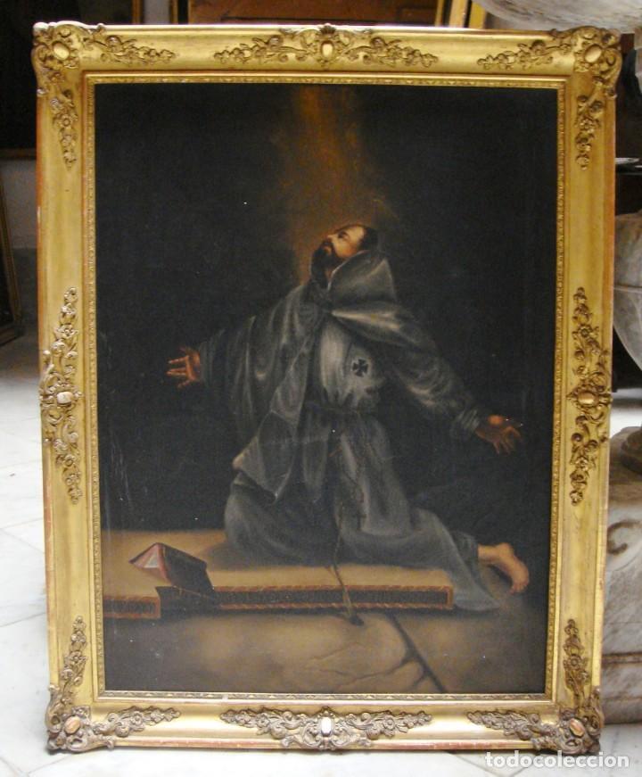 Arte: Óleo sobre lienzo. Pintura religiosa. S.XIX. Marco de madera, estuco y pan de oro. - Foto 2 - 165521402