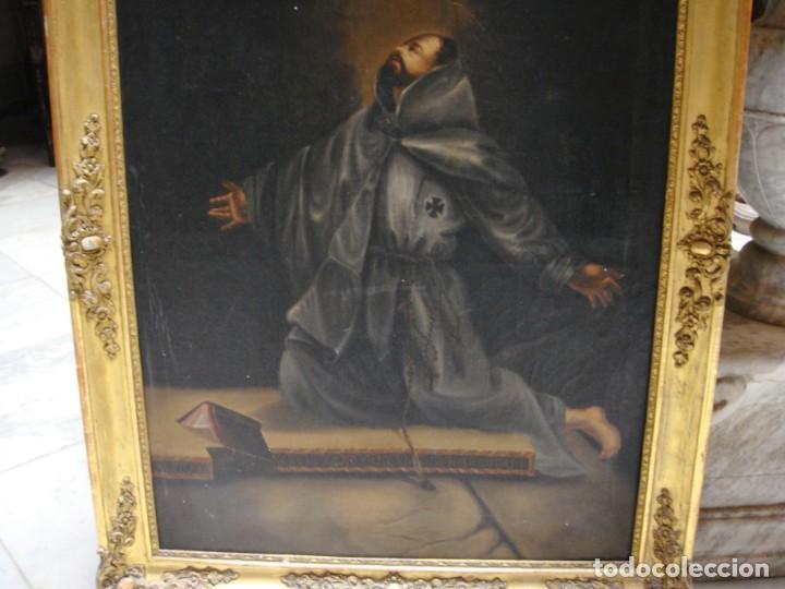 Arte: Óleo sobre lienzo. Pintura religiosa. S.XIX. Marco de madera, estuco y pan de oro. - Foto 3 - 165521402