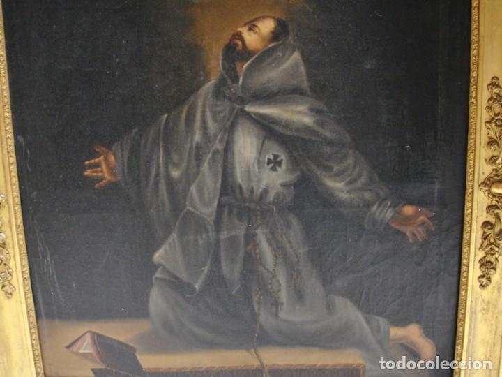 Arte: Óleo sobre lienzo. Pintura religiosa. S.XIX. Marco de madera, estuco y pan de oro. - Foto 4 - 165521402