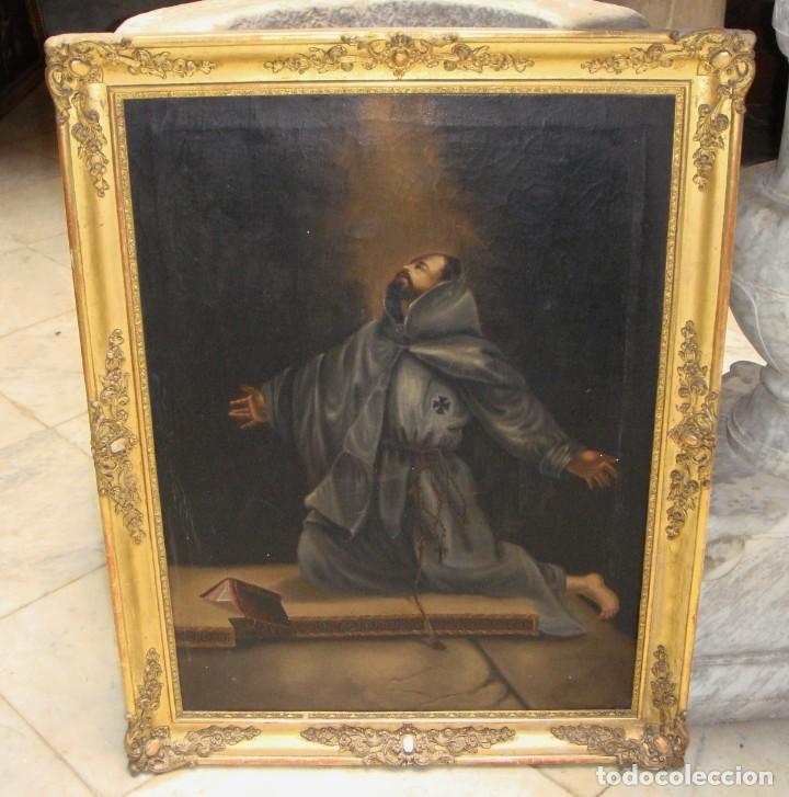 Arte: Óleo sobre lienzo. Pintura religiosa. S.XIX. Marco de madera, estuco y pan de oro. - Foto 5 - 165521402