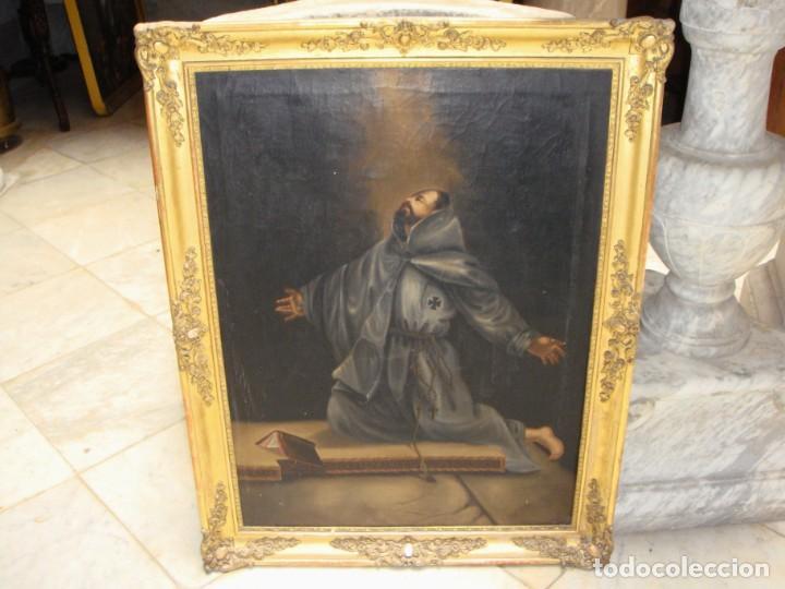 Arte: Óleo sobre lienzo. Pintura religiosa. S.XIX. Marco de madera, estuco y pan de oro. - Foto 6 - 165521402