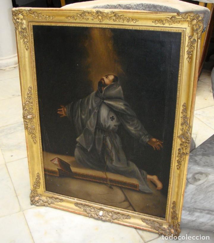 Arte: Óleo sobre lienzo. Pintura religiosa. S.XIX. Marco de madera, estuco y pan de oro. - Foto 7 - 165521402