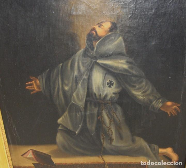 Arte: Óleo sobre lienzo. Pintura religiosa. S.XIX. Marco de madera, estuco y pan de oro. - Foto 8 - 165521402