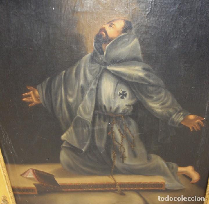 Arte: Óleo sobre lienzo. Pintura religiosa. S.XIX. Marco de madera, estuco y pan de oro. - Foto 9 - 165521402