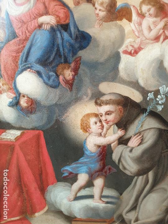 Arte: La visión de San Antonio. Óleo sobre cobre. Siglo XVIII. - Foto 9 - 161482558