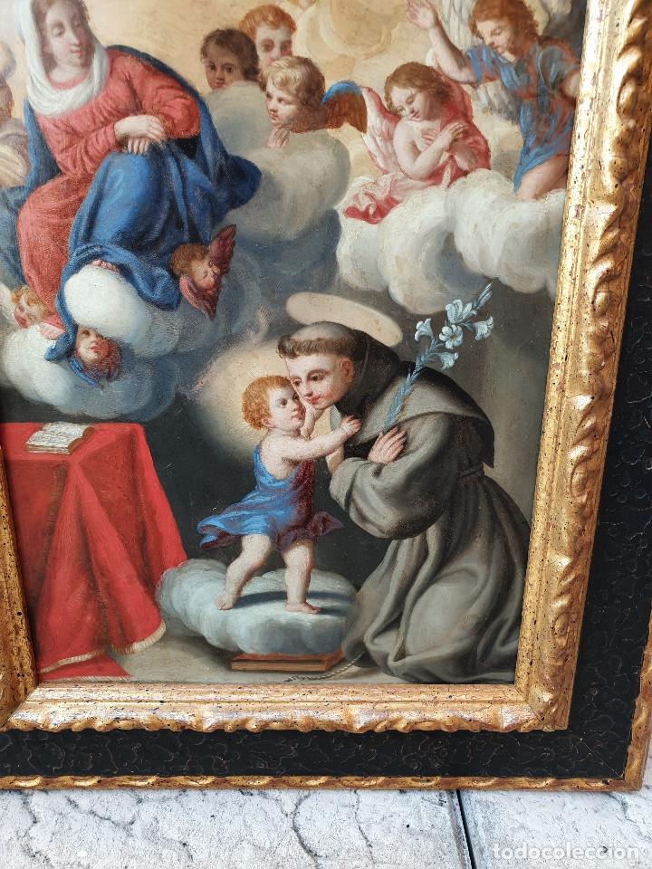 Arte: La visión de San Antonio. Óleo sobre cobre. Siglo XVIII. - Foto 11 - 161482558