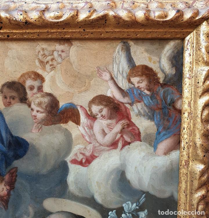 Arte: La visión de San Antonio. Óleo sobre cobre. Siglo XVIII. - Foto 12 - 161482558