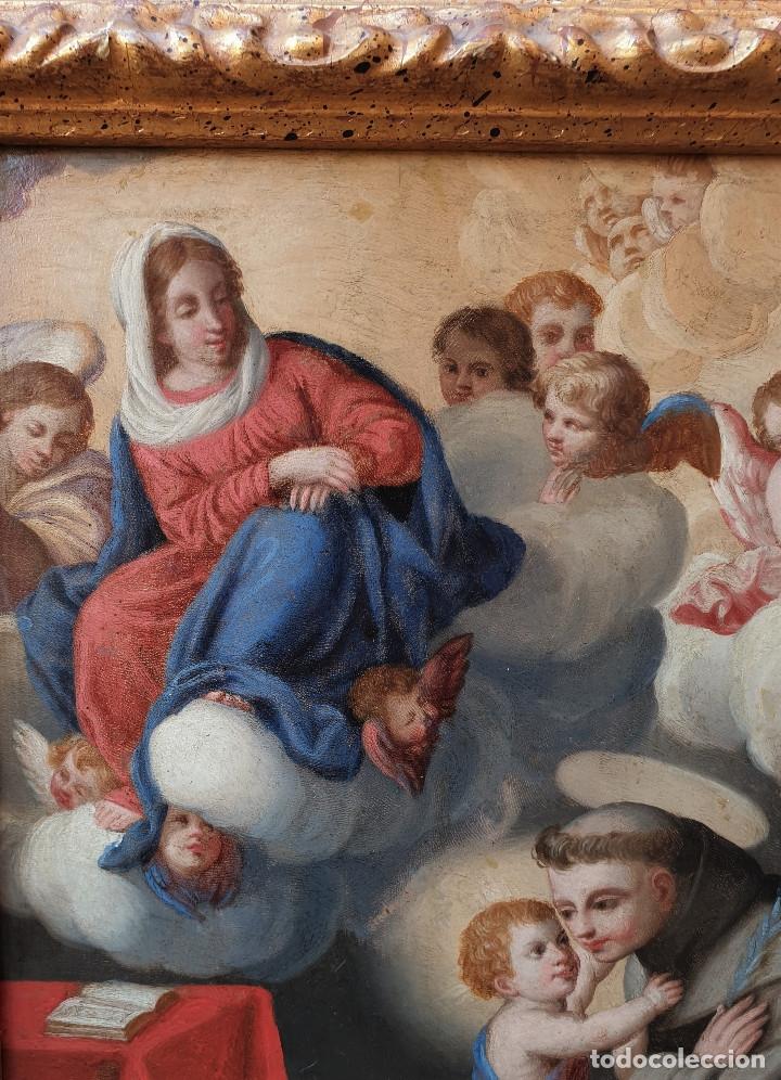 Arte: La visión de San Antonio. Óleo sobre cobre. Siglo XVIII. - Foto 10 - 161482558