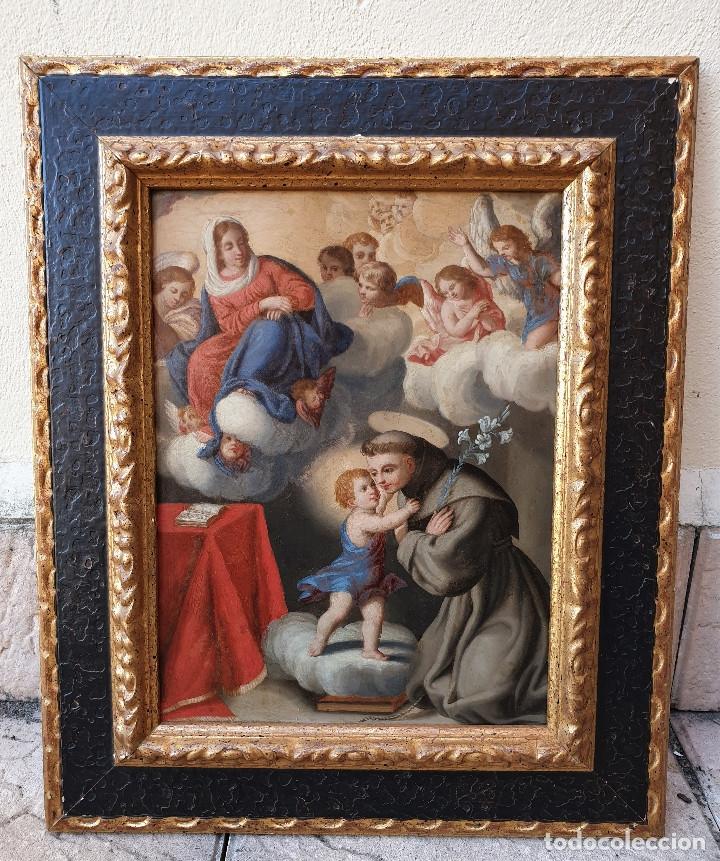 LA VISIÓN DE SAN ANTONIO. ÓLEO SOBRE COBRE. SIGLO XVIII. (Arte - Arte Religioso - Pintura Religiosa - Oleo)