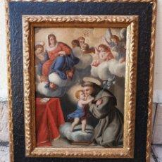 Arte: LA VISIÓN DE SAN ANTONIO. ÓLEO SOBRE COBRE. SIGLO XVIII.. Lote 161482558