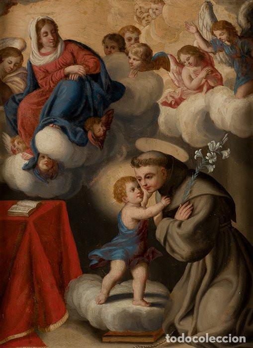 Arte: La visión de San Antonio. Óleo sobre cobre. Siglo XVIII. - Foto 2 - 161482558