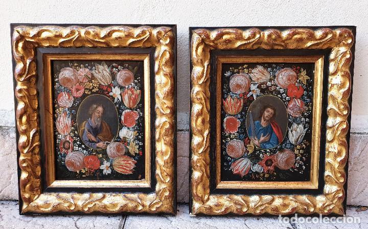 PAREJA DE SANTOS EN MAGNÍFICAS ORLAS DE FLORES. ÓLEO SOBRE COBRE, S. XVII. POSIBLEMENTE FLANDES. (Arte - Arte Religioso - Pintura Religiosa - Oleo)