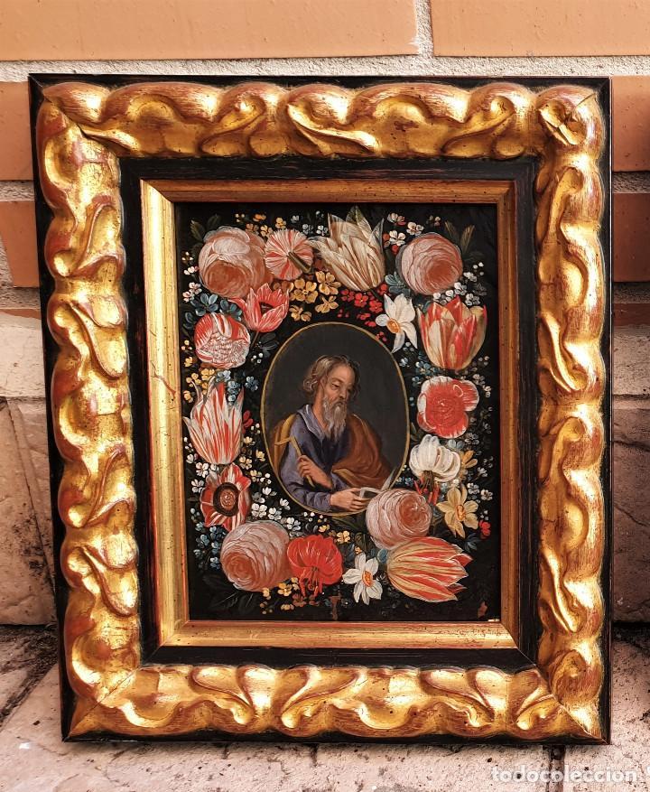 Arte: Pareja de Santos en magníficas orlas de flores. Óleo sobre cobre, s. XVII. Posiblemente Flandes. - Foto 2 - 165544042