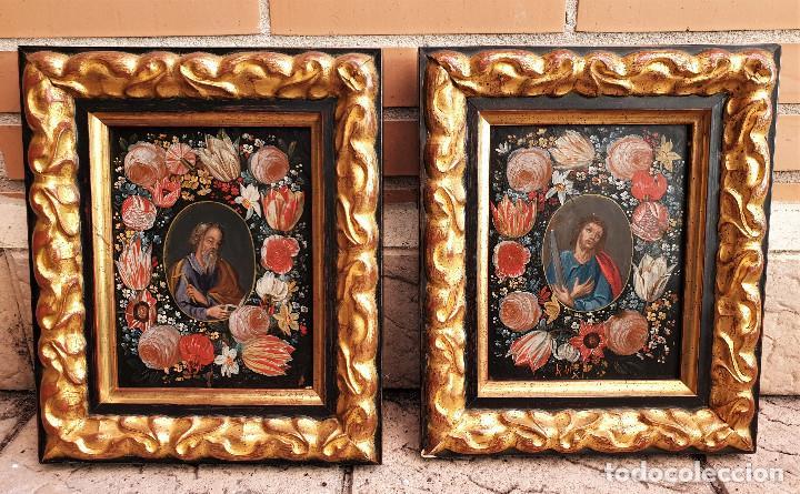 Arte: Pareja de Santos en magníficas orlas de flores. Óleo sobre cobre, s. XVII. Posiblemente Flandes. - Foto 3 - 165544042