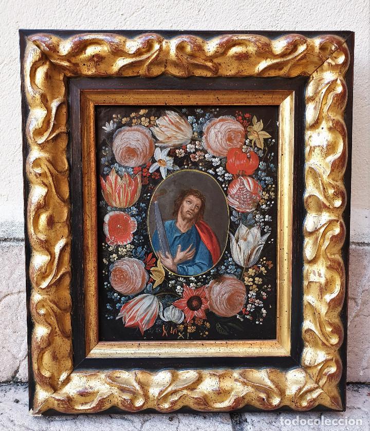 Arte: Pareja de Santos en magníficas orlas de flores. Óleo sobre cobre, s. XVII. Posiblemente Flandes. - Foto 4 - 165544042