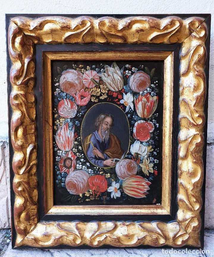Arte: Pareja de Santos en magníficas orlas de flores. Óleo sobre cobre, s. XVII. Posiblemente Flandes. - Foto 5 - 165544042