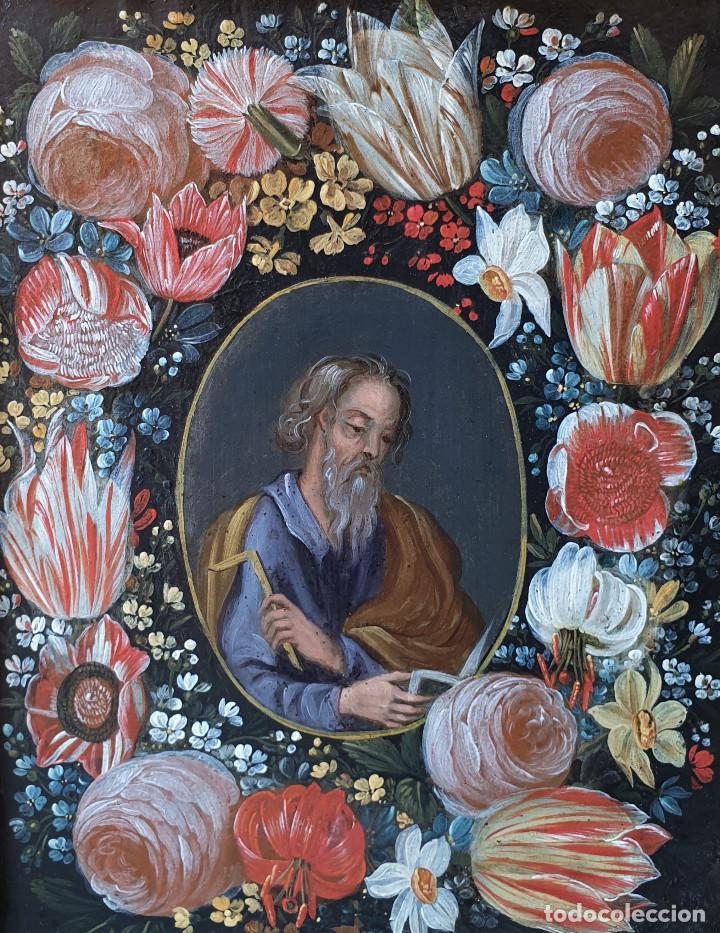 Arte: Pareja de Santos en magníficas orlas de flores. Óleo sobre cobre, s. XVII. Posiblemente Flandes. - Foto 6 - 165544042