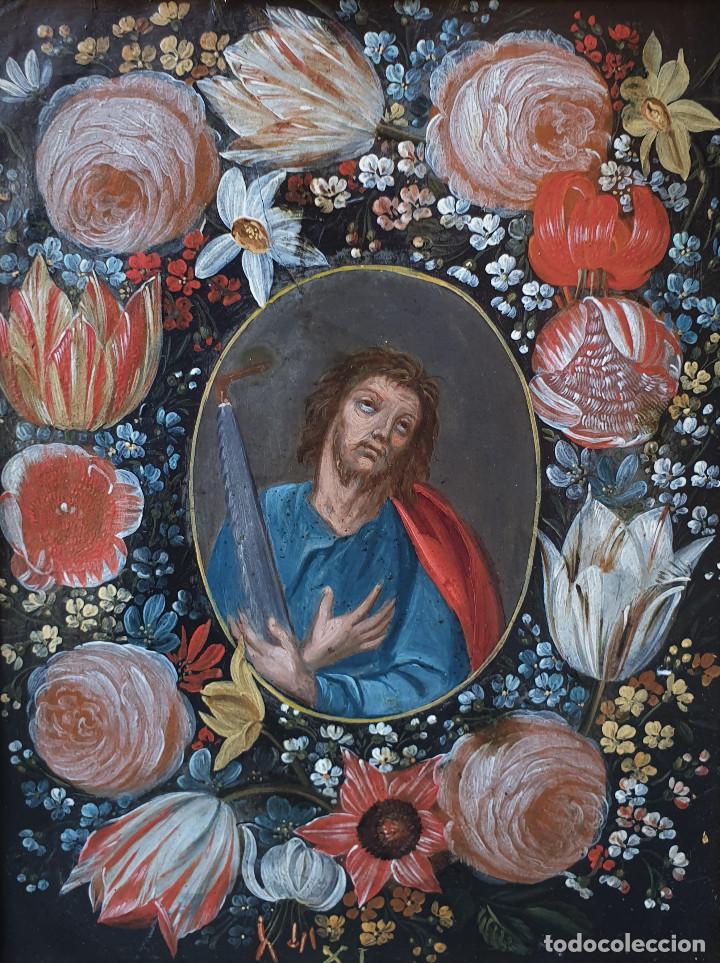 Arte: Pareja de Santos en magníficas orlas de flores. Óleo sobre cobre, s. XVII. Posiblemente Flandes. - Foto 7 - 165544042