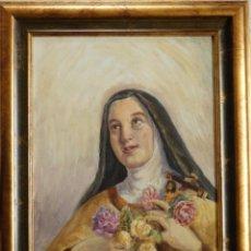 Arte: ÓLEO SOBRE TÁBLEX. RETRATO DE SANTA TERESITA DEL NIÑO JESÚS. MEDIDAS CON MARCO: 69 X 55 CM.. Lote 165545610
