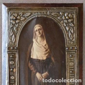 CUADRO O PINTURA DE LA VIRGEN MARÍA O EL DE UNA SANTA. MEDIDAS DE 28 X 14 CM (Arte - Arte Religioso - Pintura Religiosa - Otros)