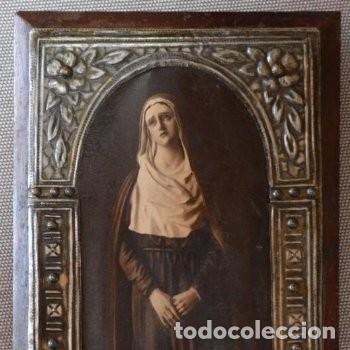 Arte: CUADRO O PINTURA DE LA VIRGEN MARÍA O EL DE UNA SANTA. MEDIDAS DE 28 x 14 CM - Foto 2 - 165620106