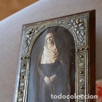 Arte: CUADRO O PINTURA DE LA VIRGEN MARÍA O EL DE UNA SANTA. MEDIDAS DE 28 x 14 CM - Foto 3 - 165620106