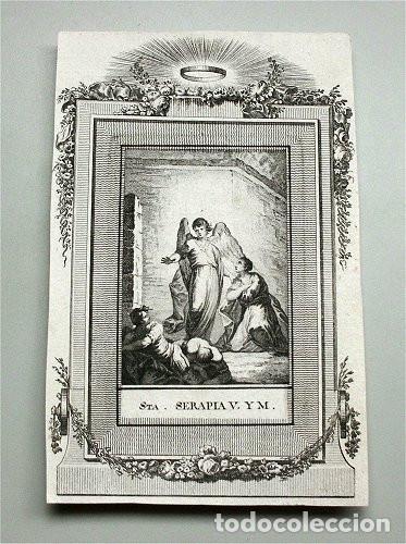 ANTIGUO GRABADO DE SANTA SERAPIA VIRGEN Y MÁRTIR (SIGLO XVIII) (Arte - Arte Religioso - Grabados)