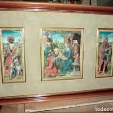 Arte: PRECIOSO CUADRO TRIPTICO DE MARIA Y JESUS CON REYES MAGOS. Lote 165724646
