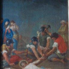 Arte: JESUS SIENDO CLAVADO EN LA CRUZ VIA CRUCIS OLEO PINTURA ITALIANA SIGLO XVIII. Lote 165768678