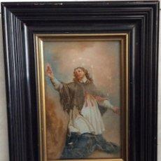 Arte: SIGLO XVIII,SAN JUAN NEPOMUCENO, PATRÓN DE LOS CONFESORES,ÓLEO SOBRE CRISTAL 26X21 CM. Lote 165840382
