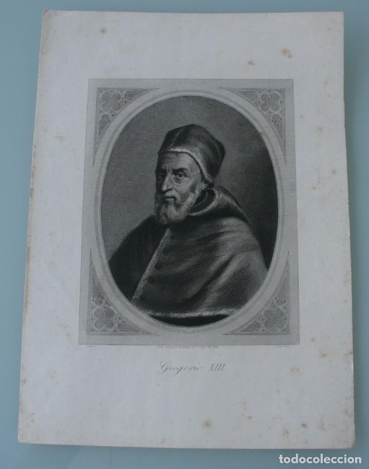 ANTIGUO GRABADO PAPA GREGORIO XIII COPIA DE LA GALERIA DE SAN PABLO EN ROMA - J. FURNO SCULPT (Arte - Arte Religioso - Grabados)