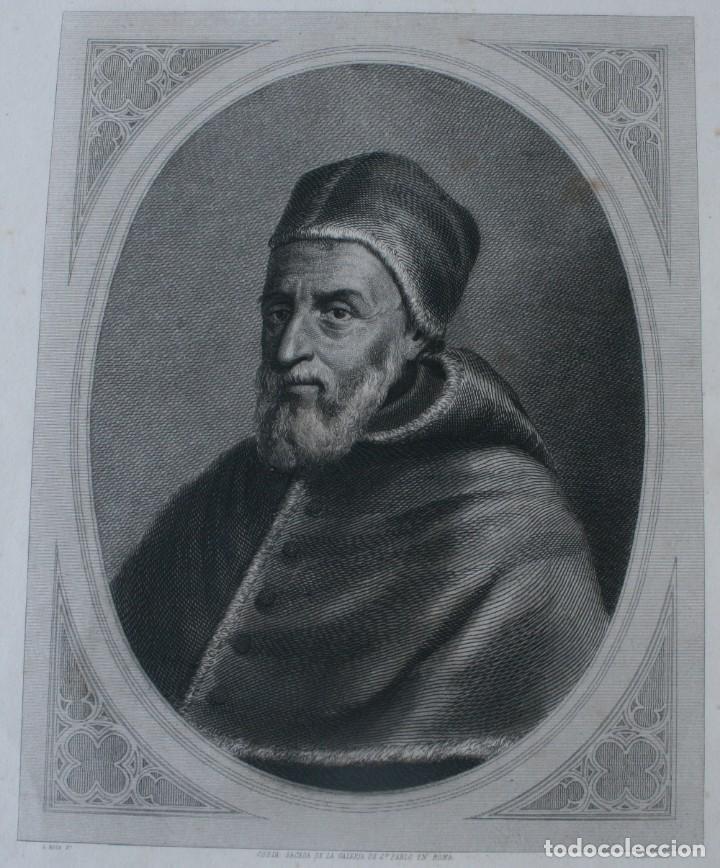 Arte: ANTIGUO GRABADO PAPA GREGORIO XIII COPIA DE LA GALERIA DE SAN PABLO EN ROMA - J. FURNO SCULPT - Foto 2 - 165874630