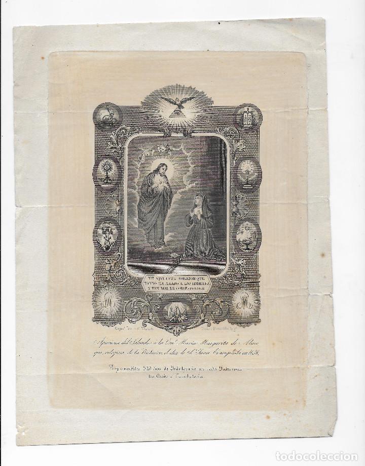 GRABADO ORIGINAL SIGLO XIX - MARIA MARGARITA DE ALACOQUE - INDULGENCIAS (Arte - Arte Religioso - Grabados)