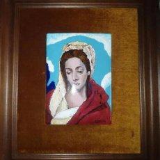 Arte: ANTIGUO ESMALTE PINTADO A MANO - DOLOROSA - FIRMADO C MARIN. Lote 166151246
