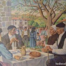 Arte: GRAN LÁMINA JOSÉ ARRÚE LITOGRAFÍA ORIGINAL MERIENDA DÍA DE ROMERÍA ALDEANOS VASCOS BAJO ÁRBOL. Lote 166187690