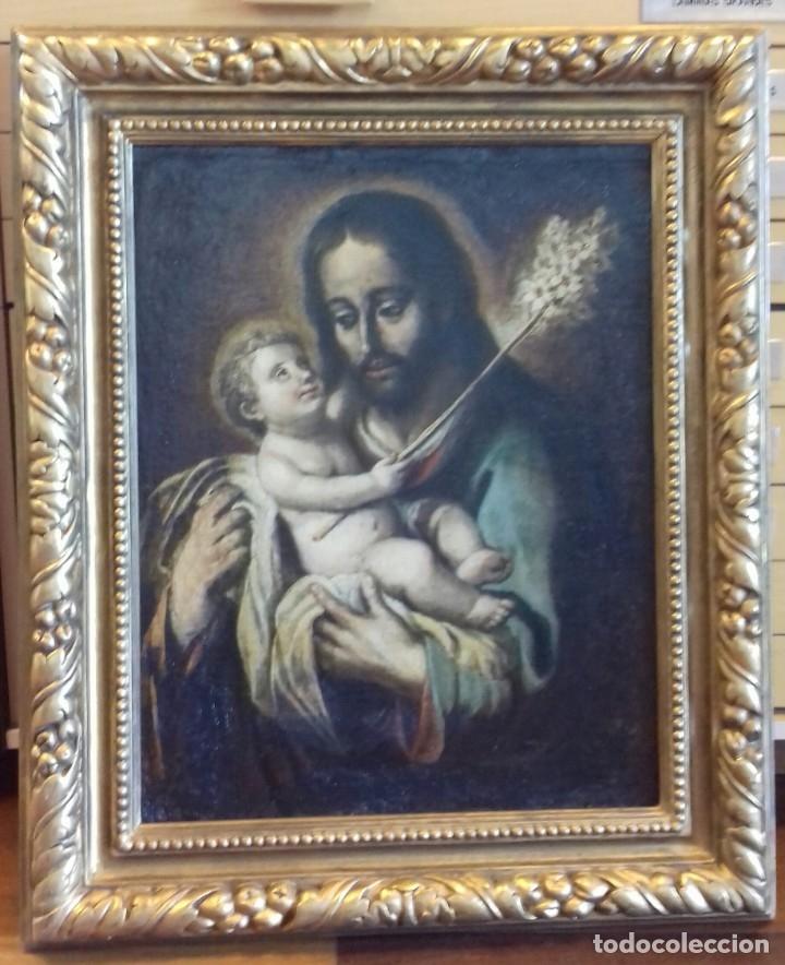 Arte: ESCUELA ESPAÑOLA DEL SIGLO XVIII. SAN JOSÉ Y EL NIÑO. LIENZO 64X48. - Foto 5 - 94088870