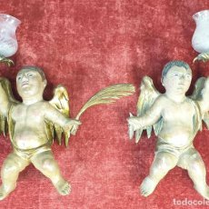 Arte - PAREJA DE ANGELES. ESCULTURAS EN MADERA TALLADA Y POLICROMADA. SIGLO XVIII-XIX. - 166239306