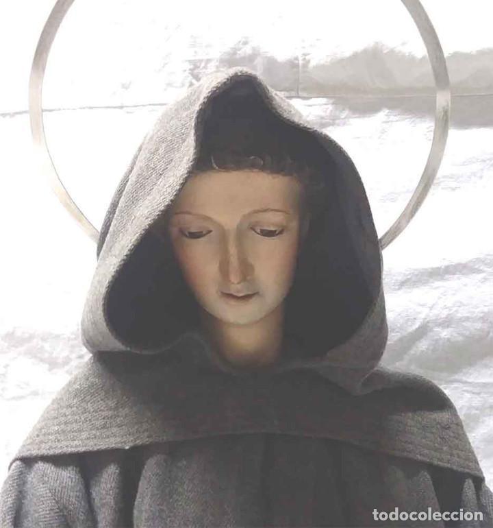 Arte: San Antonio de Padua S XIX, talla madera capipota, ojos cristal, corona de plata. Med. 96 cm - Foto 2 - 166260562