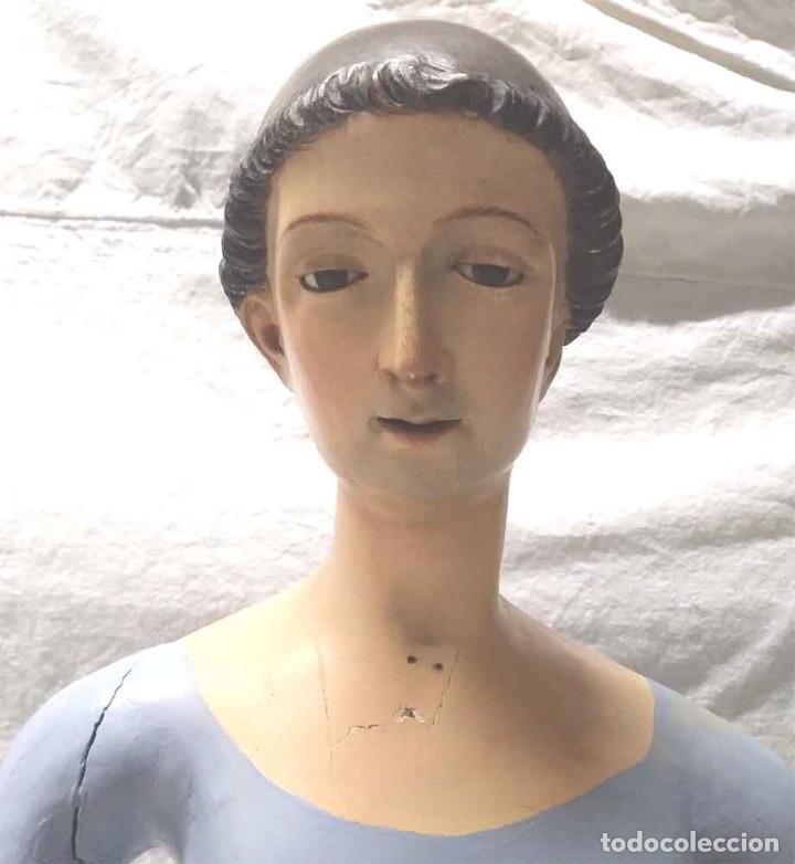 Arte: San Antonio de Padua S XIX, talla madera capipota, ojos cristal, corona de plata. Med. 96 cm - Foto 5 - 166260562
