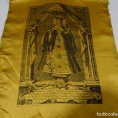 Arte: LA DIVINA PEREGRINA EN EL SANTUARIO DE PONTEBEDRA. TELA DE RASO DORADA. Lote 179153150