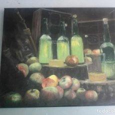 Arte: CUADRO BODEGON SIDRA Y MANZANA. Lote 166468434