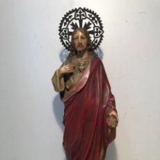 Arte: SAGRADO CORAZON DE PASTA DE MADERA ANTIGUO, SIGLO XIX , SELLO ARTE CRISTIANO OLOT. 38CM. Lote 166501874