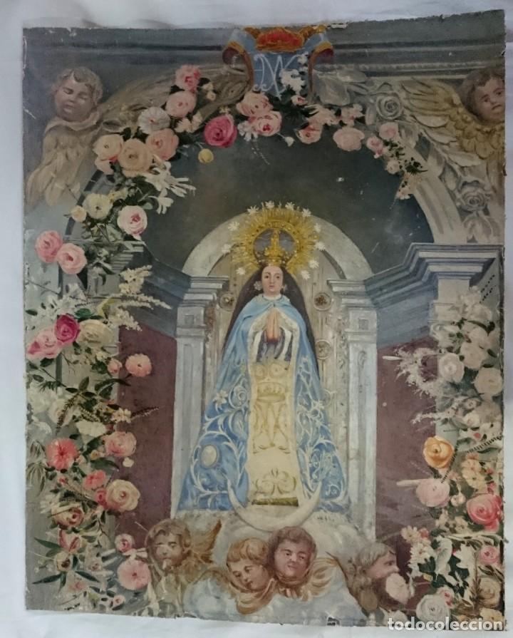 ANTIGUO ÓLEO DE LA VIRGEN GUADALUPE DEL SIGLO XIX SOBRE CARTÓN. 60X47CM. ÁNGELES O QUERUBINES (Arte - Arte Religioso - Pintura Religiosa - Oleo)