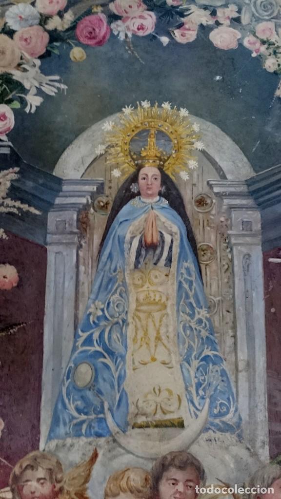 Arte: Antiguo óleo de la virgen Guadalupe del siglo XIX sobre cartón. 60x47cm. Ángeles o querubines - Foto 2 - 166522966