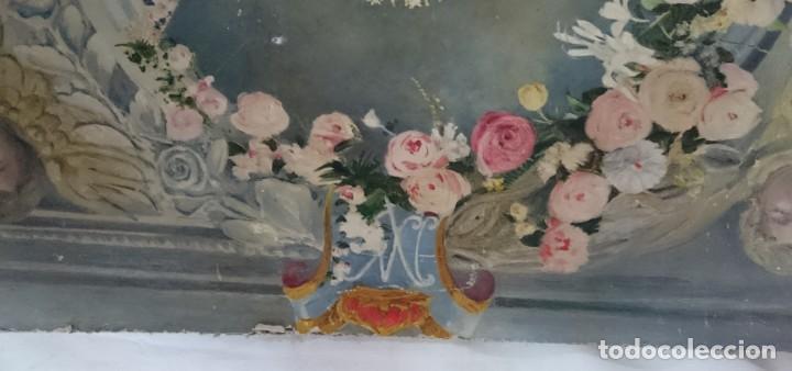 Arte: Antiguo óleo de la virgen Guadalupe del siglo XIX sobre cartón. 60x47cm. Ángeles o querubines - Foto 3 - 166522966