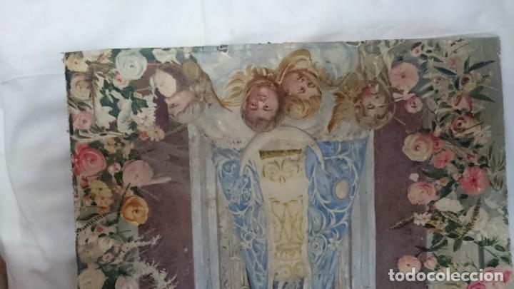 Arte: Antiguo óleo de la virgen Guadalupe del siglo XIX sobre cartón. 60x47cm. Ángeles o querubines - Foto 4 - 166522966